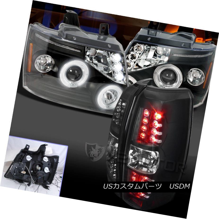 ヘッドライト 2007-2012 Avalanche Halo Projector Headlights+LED Tail Lamp Black 2007年?2012年アバランシェヘイロープロジェクターヘッドライト+ LEDテールランプブラック