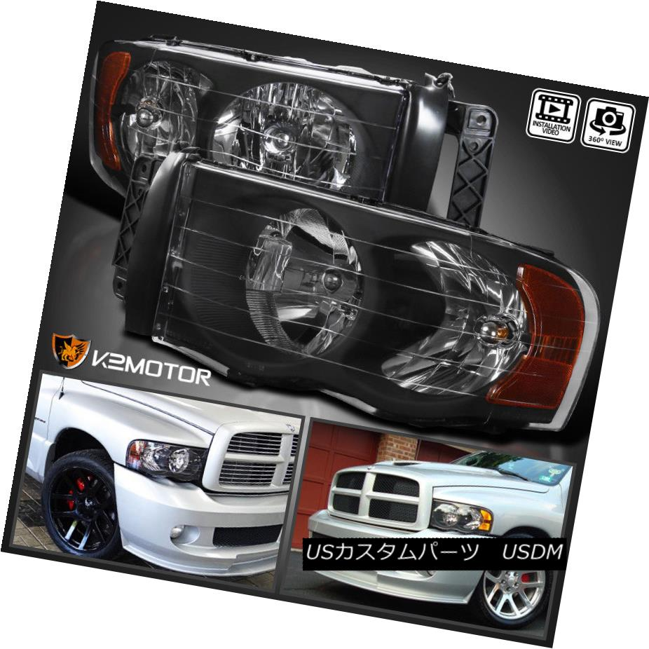 ヘッドライト 2002-2005 Dodge Ram 1500 2003-2005 Ram 2500 3500 Black Headlights Left+Right 2002-2005 Dodge Ram 1500 2003-2005 Ram 2500 3500ブラックヘッドライトLeft + Right