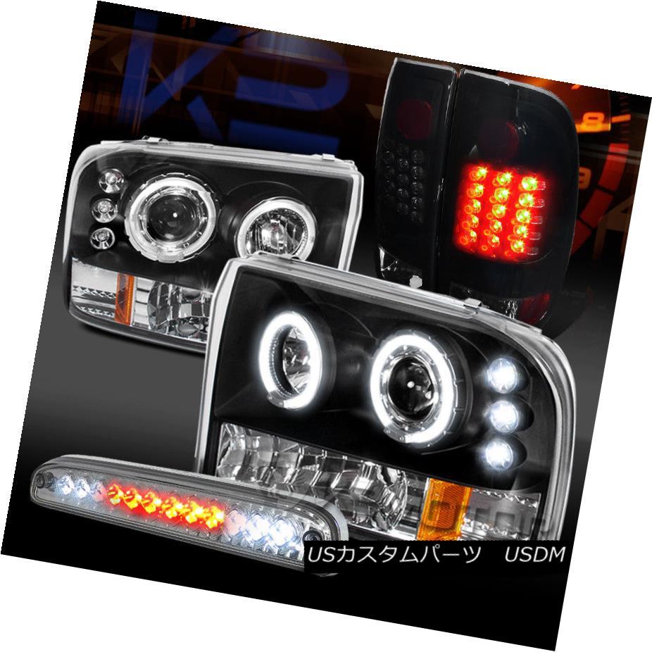 ヘッドライト 99-04 F250 Halo Projector Headlights+Glossy Black LED Tail Lamps+Clear 3rd Brake 99-04 F250ハロープロジェクターヘッドライト+グロー ssyブラックLEDテールランプ+クリア第3ブレーキ
