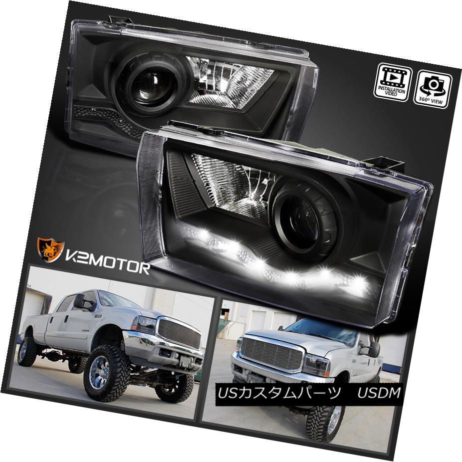 ヘッドライト Ford 99-04 F250 SMD LED DRL Projector Headlights Head Lamps Black F350 F450 フォード99-04 F250 SMD LED DRLプロジェクターヘッドライトヘッドランプブラックF350 F450