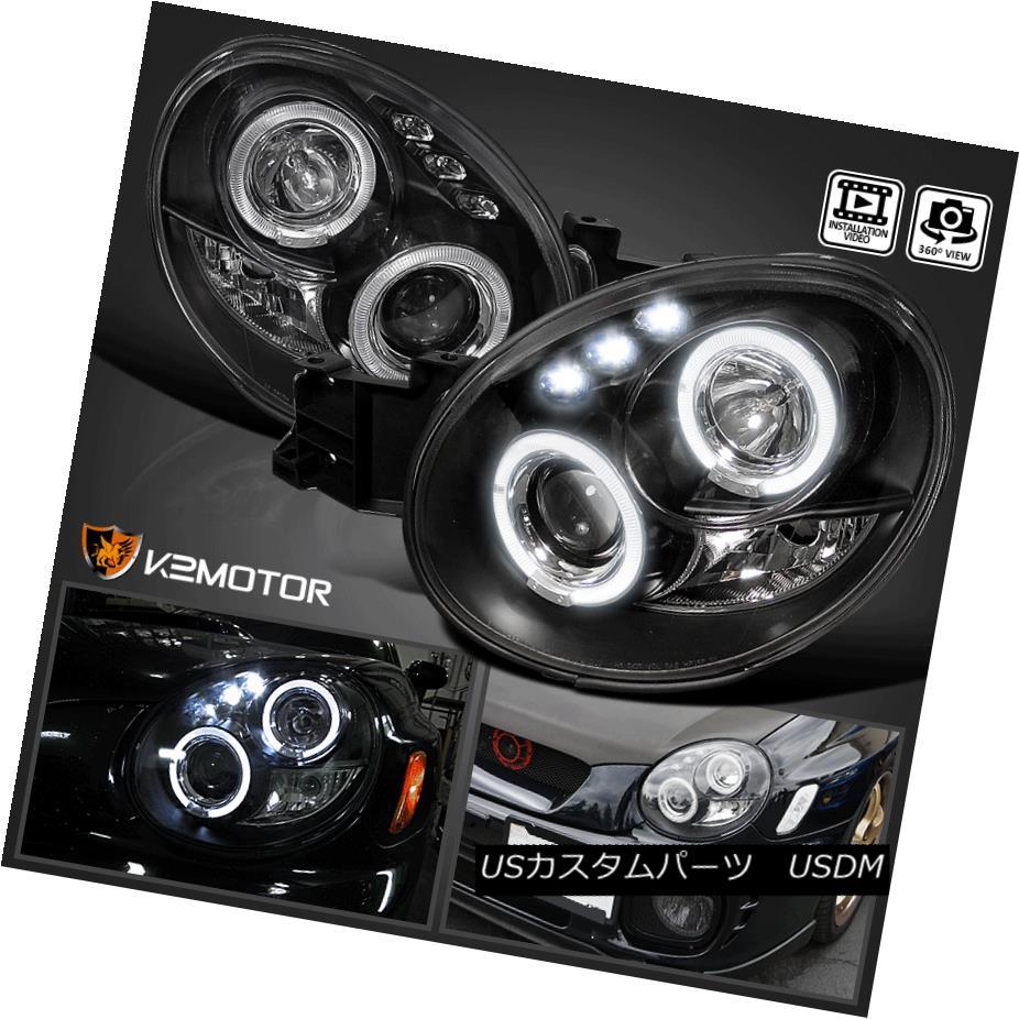 ヘッドライト For 02-03 Subaru Impreza WRX Outback Dual Halo LED Projector Headlights Black 02-03スバルインプレッサWRXアウトバックデュアルヘイロープロジェクターヘッドライトブラック
