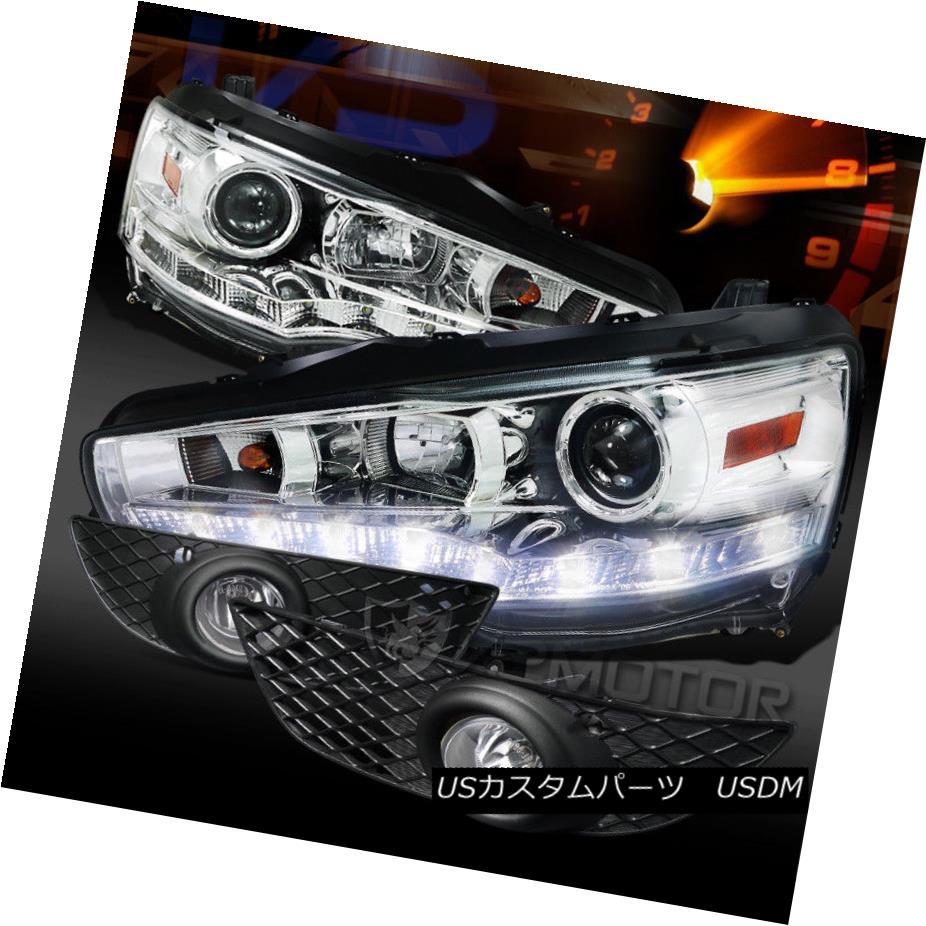 ヘッドライト 08-12 Mitsubishi Lancer R8 LED DRL Chrome Projector Headlights+Clear Fog Lamps 08-12三菱ランサーR8 LED DRLクロームプロジェクターヘッドライト+ Cle  arフォグランプ