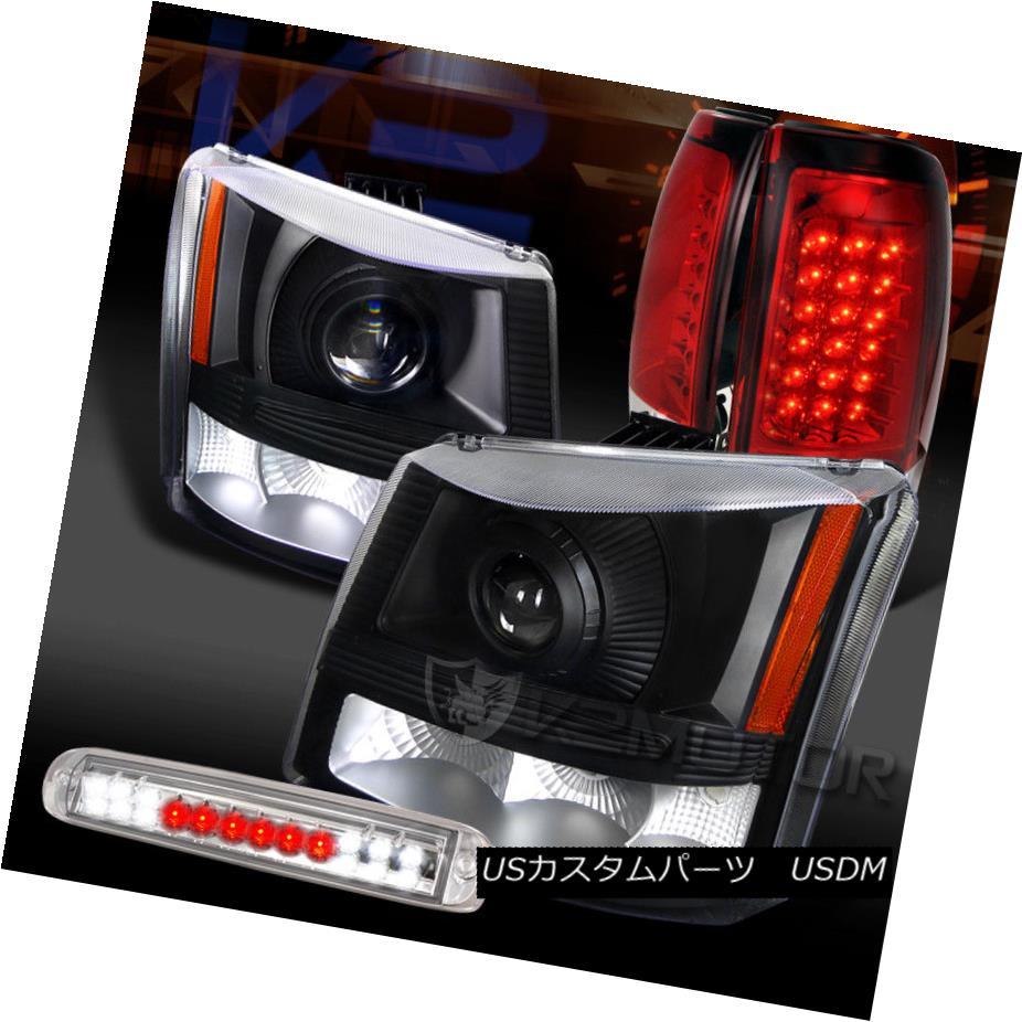 ヘッドライト 03-06 Silverado Black Projector Headlights+Red LED Tail Lamps+Clear LED 3rd Stop 03-06 Silveradoブラックプロジェクターヘッドライト+レッドLEDテールランプ+ Clear LED 3rd Stop