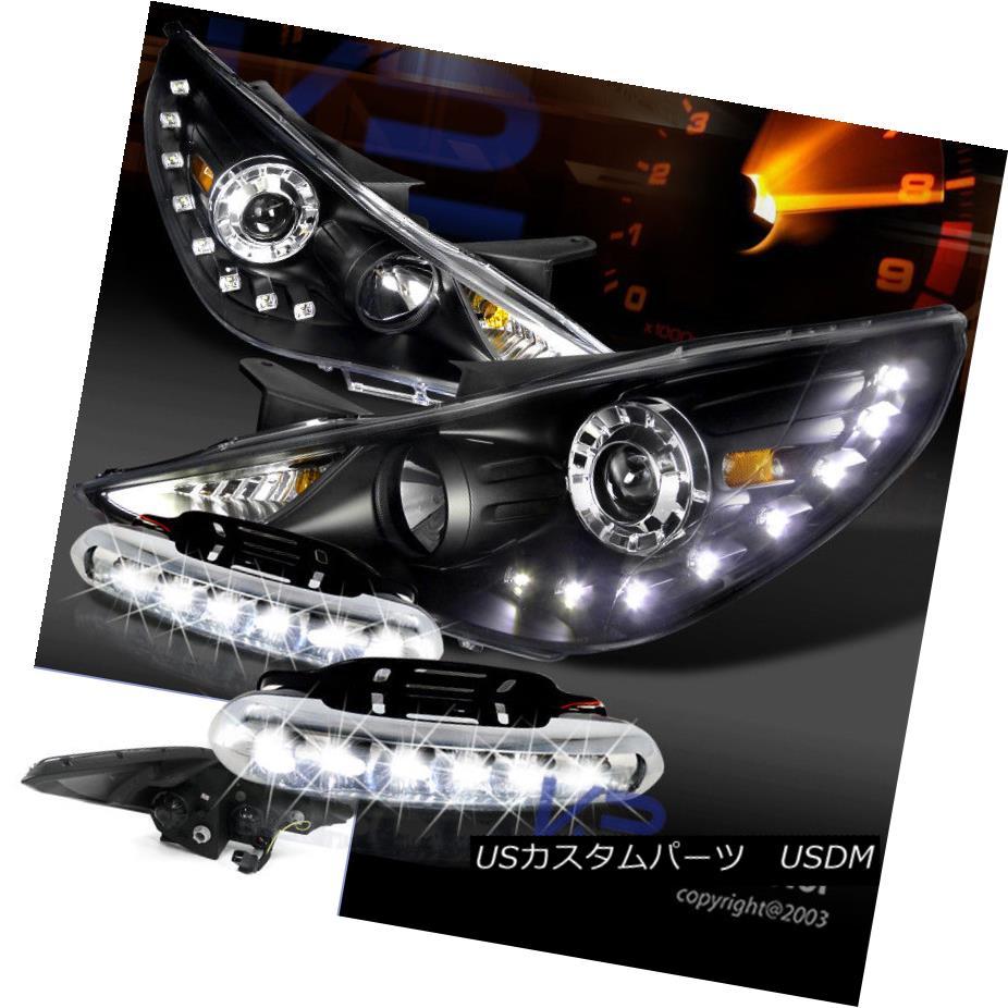 ヘッドライト For 2011-2014 Sonata Black SMD LED DRL Projector Headlights+Bumper LED Fog Lamps 2011年?2014年ソナタブラックSMD LED DRLプロジェクターヘッドライト+ブーム :LEDフォグランプ
