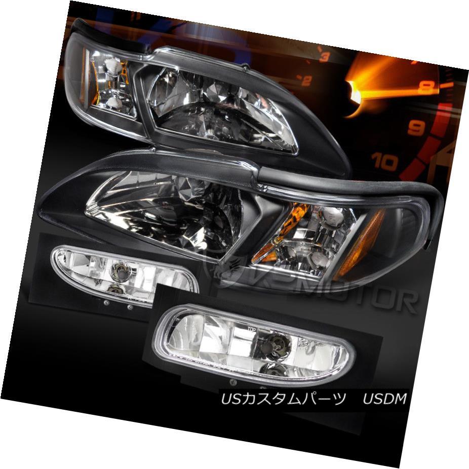ヘッドライト 94-98 Ford Mustang 1PC Style Black Headlights Signal Lamps+Clear Fog Lights 94-98 Ford Mustang 1PCスタイルブラックヘッドライトシグナルランプ+クリアフォグライト