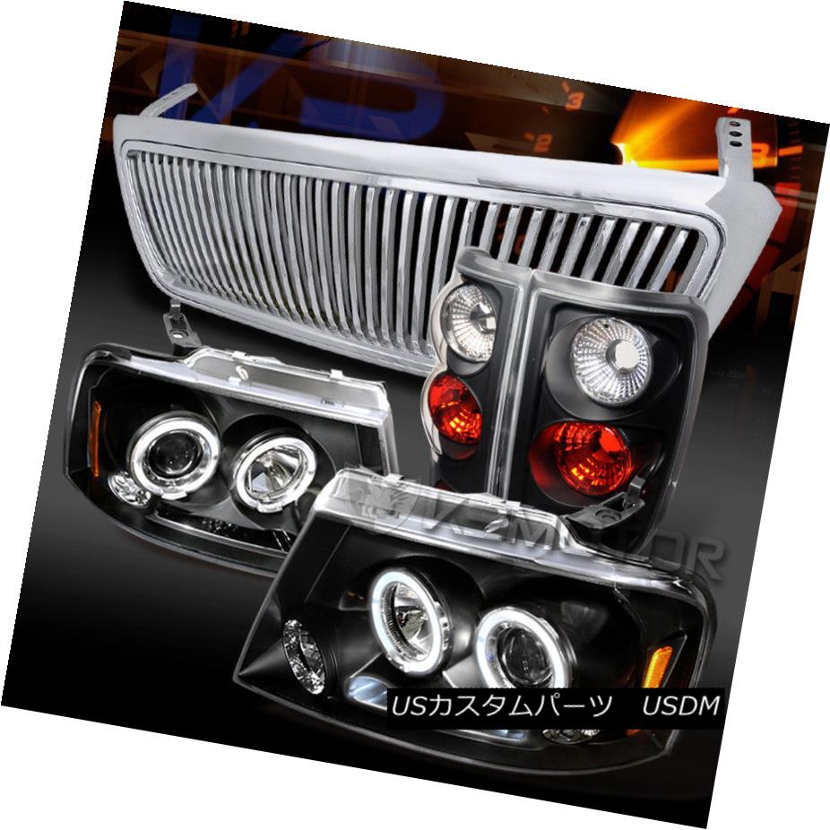 ヘッドライト 04-08 F150 Black Halo Projector Headlights+Tail Lamps+Chrome Vertical Grille 04-08 F150ブラックハロープロジェクターヘッドライト+タイ lランプ+クローム垂直グリル