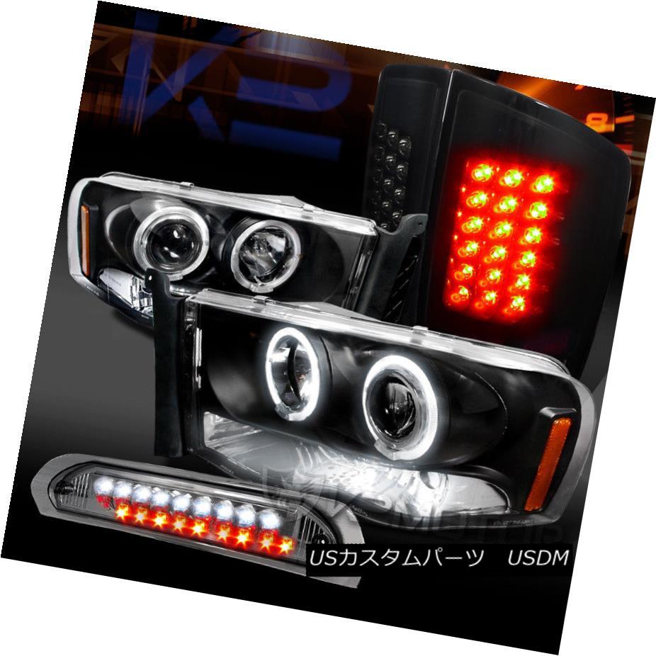 ヘッドライト 02-05 Ram Halo Projector Headlights+Glossy Black LED Tail Tint 3rd Brake Lamps 02-05ラムハロープロジェクターヘッドライト+グロー ssyブラックLEDテールティント第3ブレーキランプ