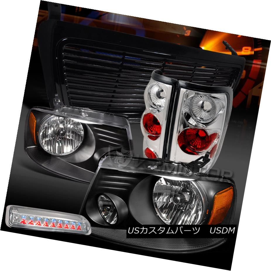ヘッドライト 04-08 F150 Black Headlights+Billet Grille+Chrome Tail Lamps+LED 3rd Brake 04-08 F150ブラックヘッドライト+ Bil グリル+クロームテールランプ+ LED 3rdブレーキ