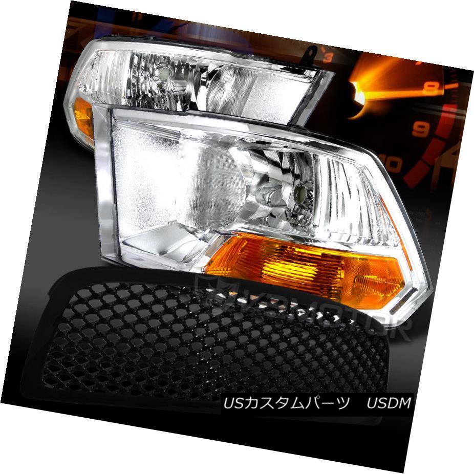 ヘッドライト 09-12 Dodge Ram 1500 Crystal Chrome Headlights+Black Mesh Hood Grille 09-12ダッジラム1500クリスタルクロームヘッドライト+ Bla  ckメッシュフードグリル
