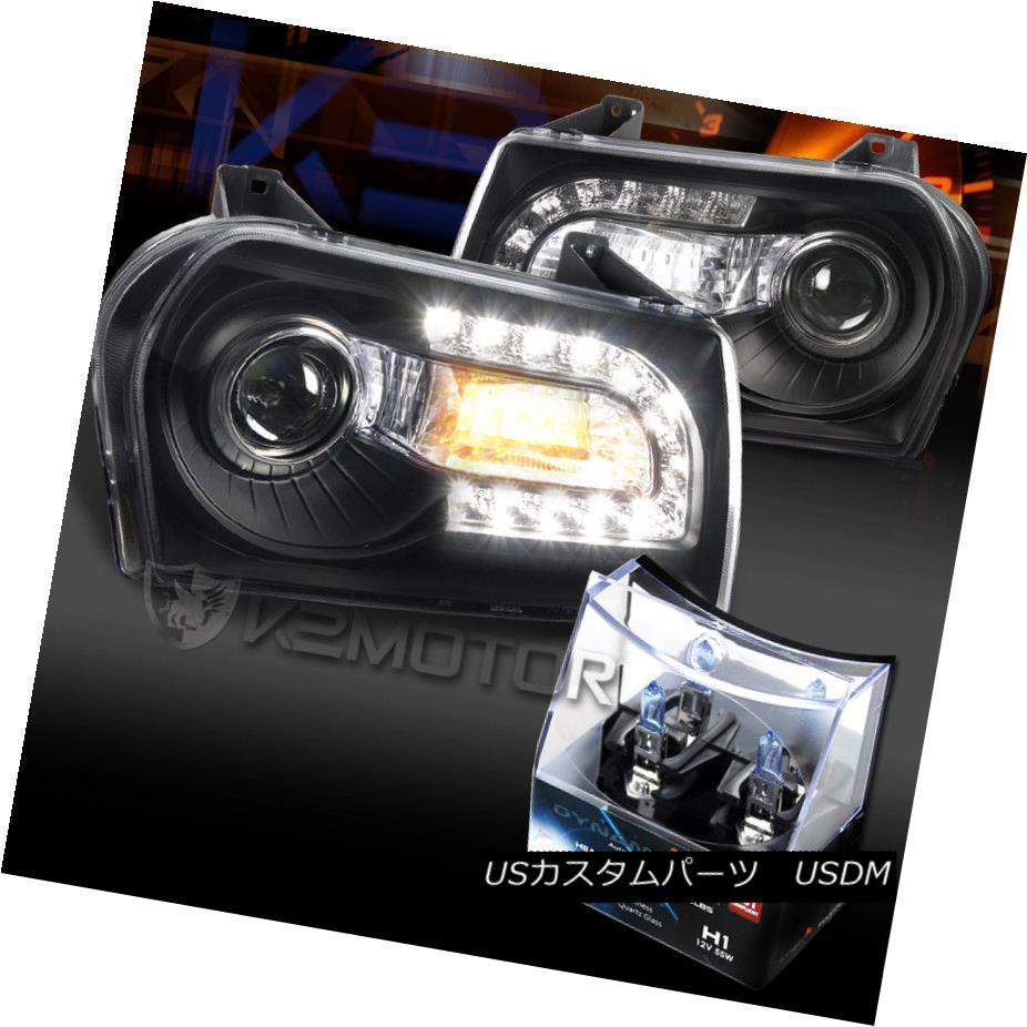 ヘッドライト 05-10 Chrysler 300 Black LED DRL Signal Projector Headlights+H1 Halogen Bulbs 05-10クライスラー300ブラックLED DRLシグナルプロジェクターヘッドライト+ H1ハロゲン電球