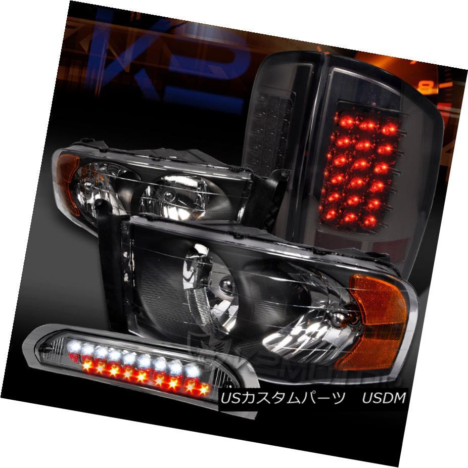 ヘッドライト 02-05 Ram 1500/2500 Black Headlights+Smoke LED Tail Lamps+LED 3rd Brake 02-05 Ram 1500/2500ブラックヘッドライト+スモール ke LEDテールランプ+ LED第3ブレーキ