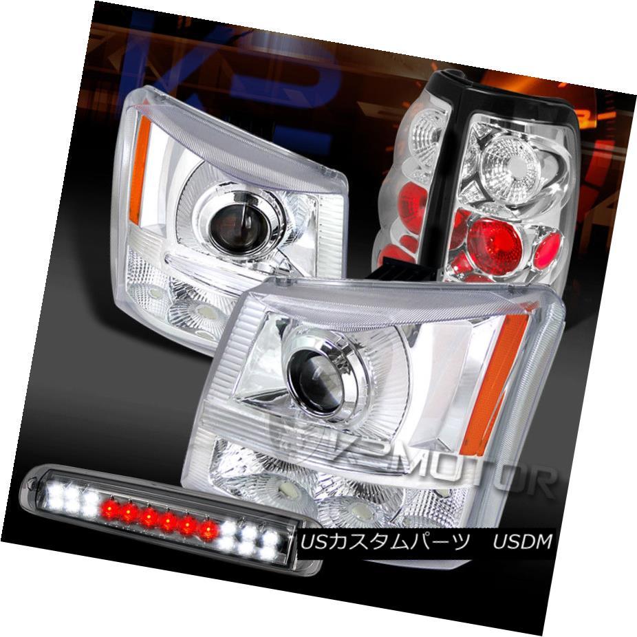 ヘッドライト 03-06 Silverado 1500 Clear Projector Headlights+Tail Lights+Smoke 3rd Stop Lamp 03-06 Silverado 1500クリアプロジェクターヘッドライト+タイ lライト+スモーク3ストップランプ