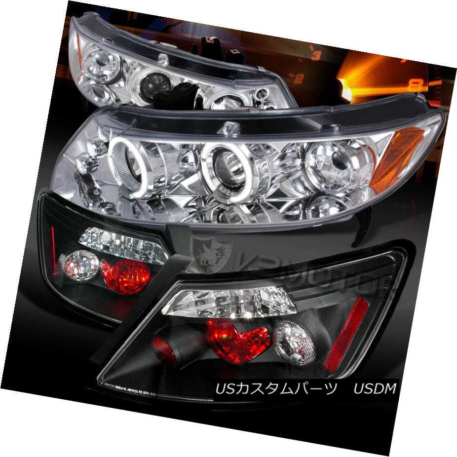 ヘッドライト For 06-11 Civic 2DR Chrome Halo LED Projector Headlights+Black Tail Lamps 06-11 Civic 2DR Chrome Halo LEDプロジェクターヘッドライト+ Bla  ckテールランプ