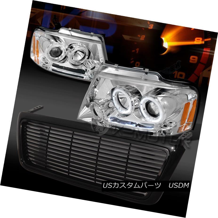 ヘッドライト 04-08 F150 Chrome Halo LED Projector Headlights+Black ABS Billet Grille 04-08 F150クロームハローLEDプロジェクターヘッドライト+ Bla  ck ABS Billet Grille