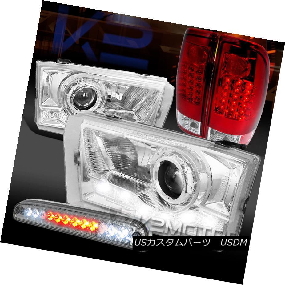 ヘッドライト 99-04 F250 SD SMD DRL Projector Headlights+3rd Brake+Red/Clear LED Tail Lamp 99-04 F250 SD SMD DRLプロジェクターヘッドライト+第3ブレーキ+赤色/青色 r LEDテールランプ