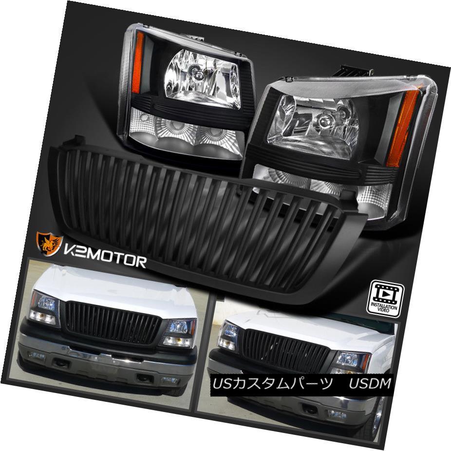 ヘッドライト 03-05 Chevy Silverado 1PC Black Crystal Headlights+Bumper Lamp+Hood Grille 03-05 Chevy Silverado 1PCブラッククリスタルヘッドライト+バーン 、ランプ+フードグリル