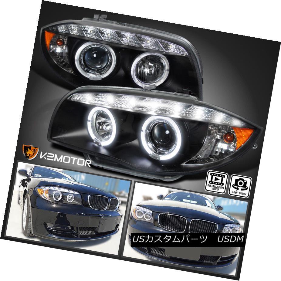 ヘッドライト 07-13 E82 E88 US E87 1-Series Coupe/ Convertible Halo Black Projector Headlights 07-13 E82 E88 US E87 1シリーズクーペ/コンバーチブルハローブラックプロジェクターヘッドライト