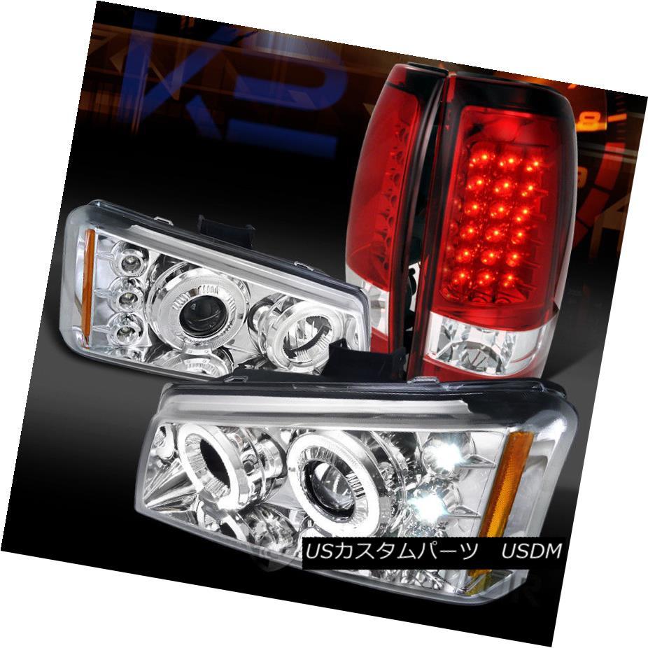 ヘッドライト 03-06 Silverado Chrome Dual Halo Projector Headlights+Red LED Tail Lamps 03-06 Silverado Chromeデュアルハロープロジェクターヘッドライト+レッドLEDテールランプ