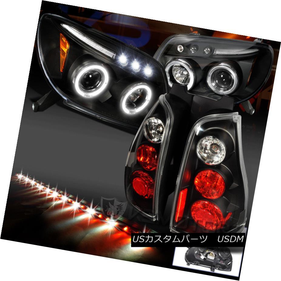 ヘッドライト For 03-05 4Runner Halo Black Projector Headlight+Tail Light+49