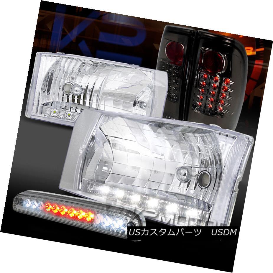 ヘッドライト 99-04 F250 SuperDuty LED DRL Clear Headlights+3rd Brake+Smoke LED Tail Lamps 99-04 F250 SuperDuty LED DRLクリアヘッドライト+ 3番ブレーキ+スモークLEDテールランプ