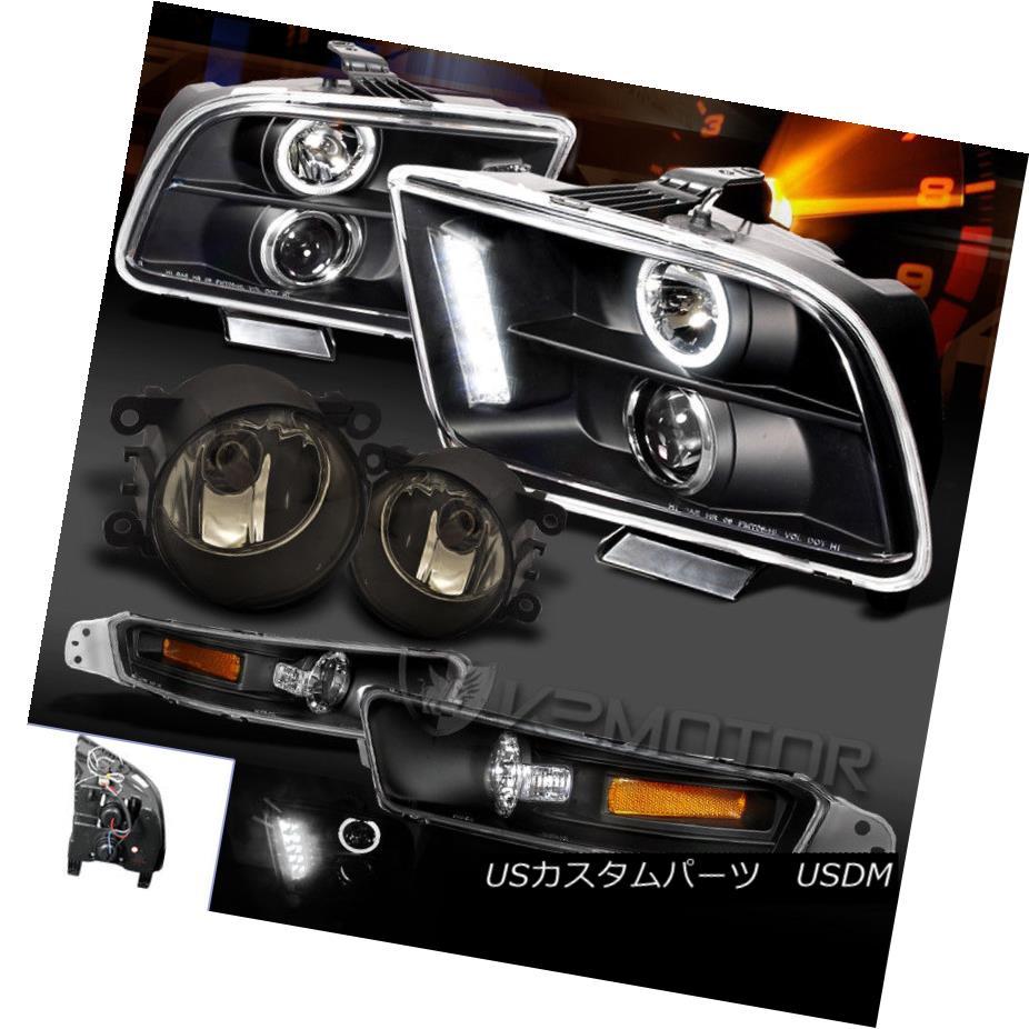 ヘッドライト 2005-2009 Mustang Black LED Halo Projector Headlight+Bumper+Smoked Fog Lamps 2005-2009ムスタングブラックLEDハロープロジェクターヘッドライト+バンプ er +スモークフォグランプ