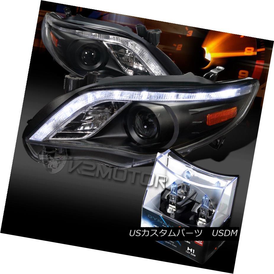 ヘッドライト For 11-13 Toyota Corolla Black LED DRL Projector Headlights+H1 Halogen Bulbs 11-13トヨタカローラブラックLED DRLプロジェクターヘッドライト+ H1ハロゲン電球用