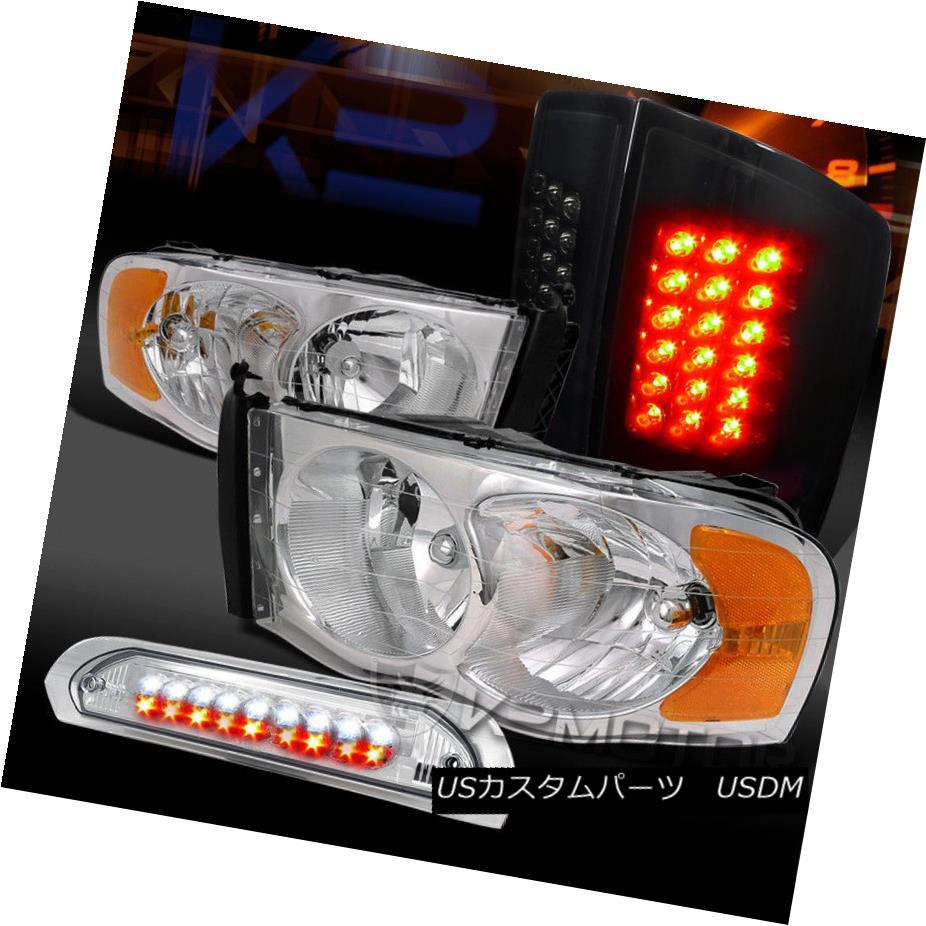 ヘッドライト 02-05 Ram 1500/2500 Chrome Headlights+LED 3rd Brake+Glossy Black LED Tail Lamps 02-05 Ram 1500/2500クロームヘッドライト+ LED第3ブレーキ+光沢のある黒色LEDテールランプ