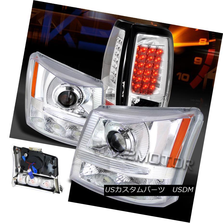 ヘッドライト 2003-2006 Silverado Chrome Projector Headlights+Bumper Lamps+LED Tail Lights 2003年?2006年シルバラード・クローム・プロジェクター・ヘッドライト+バーン 、ランプ+ LEDテールライト