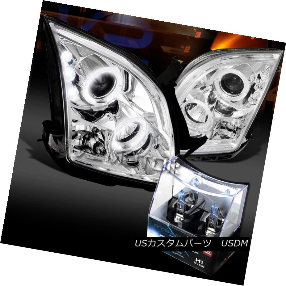 ヘッドライト 06-09 Ford Fusion Chrome Halo LED Projector Headlights+H1 Halogen Bulbs 06-09 Ford Fusion Chrome Halo LEDプロジェクターヘッドライト+ H1ハロゲン電球