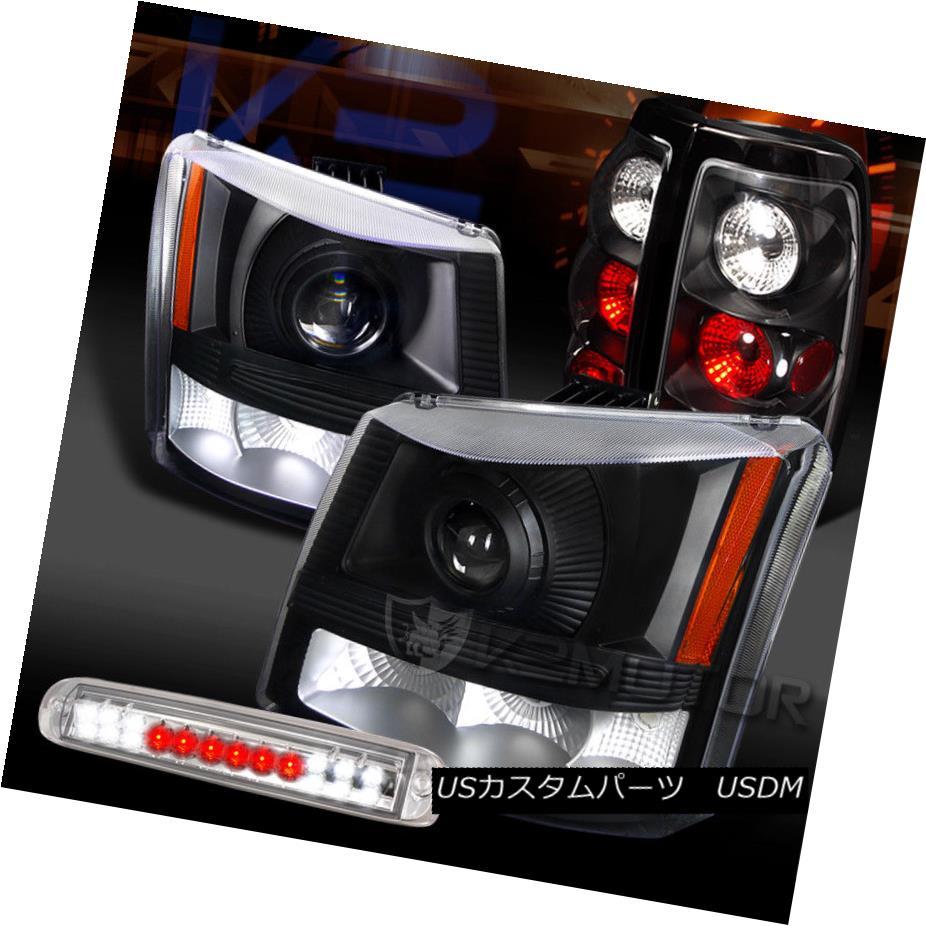 ヘッドライト 03-06 Silverado Black Projector Headlights+Tail Lamps+Clear LED 3rd Brake 03-06 Silveradoブラックプロジェクターヘッドライト+タイ lランプ+クリアLED第3ブレーキ