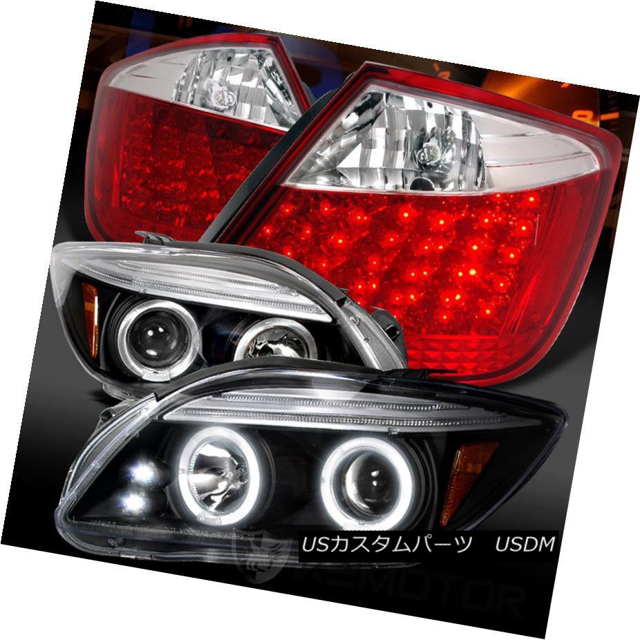 ヘッドライト 05-10 Scion tC Black Halo Projector Headlights+Red LED Tail Lamps 05-10 Scion tCブラックハロープロジェクターヘッドライト+レッドLEDテールランプ
