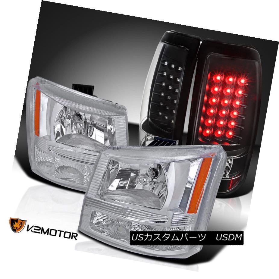 ヘッドライト 03-06 Chevy Silverado Pickup Chrome Headlights+Black LED Tail Lamps 03-06 Chevy Silveradoピックアップクロームヘッドライト+ Bla  ck LEDテールランプ