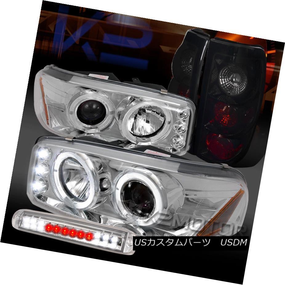 ヘッドライト 99-03 Sierra Chrome Projector Headlights+LED 3rd Brake+Piano Black Tail Lamps 99-03シエラクロームプロジェクターヘッドライト+ LED第3ブレーキ+ピアノブラックテールランプ