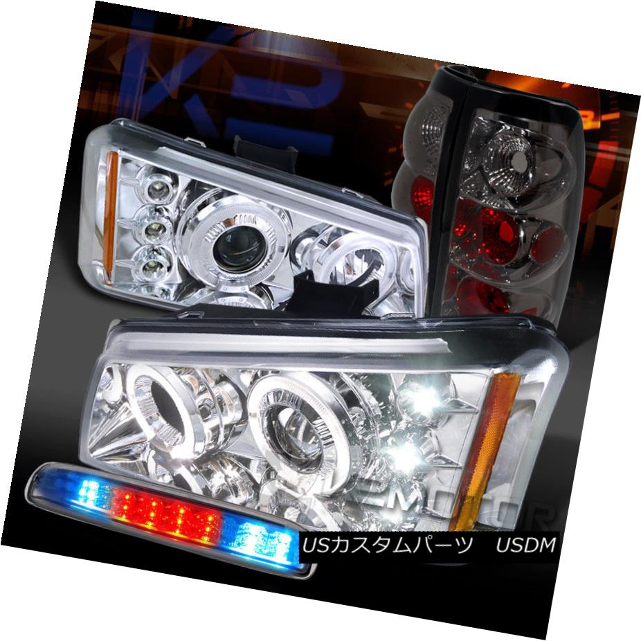 ヘッドライト 03-06 Silverado Chrome Halo Projector Headlights+LED 3rd Brake+Smoke Tail Lamps 03-06 Silverado Chrome Haloプロジェクターヘッドライト+ LED第3ブレーキ+煙テールランプ