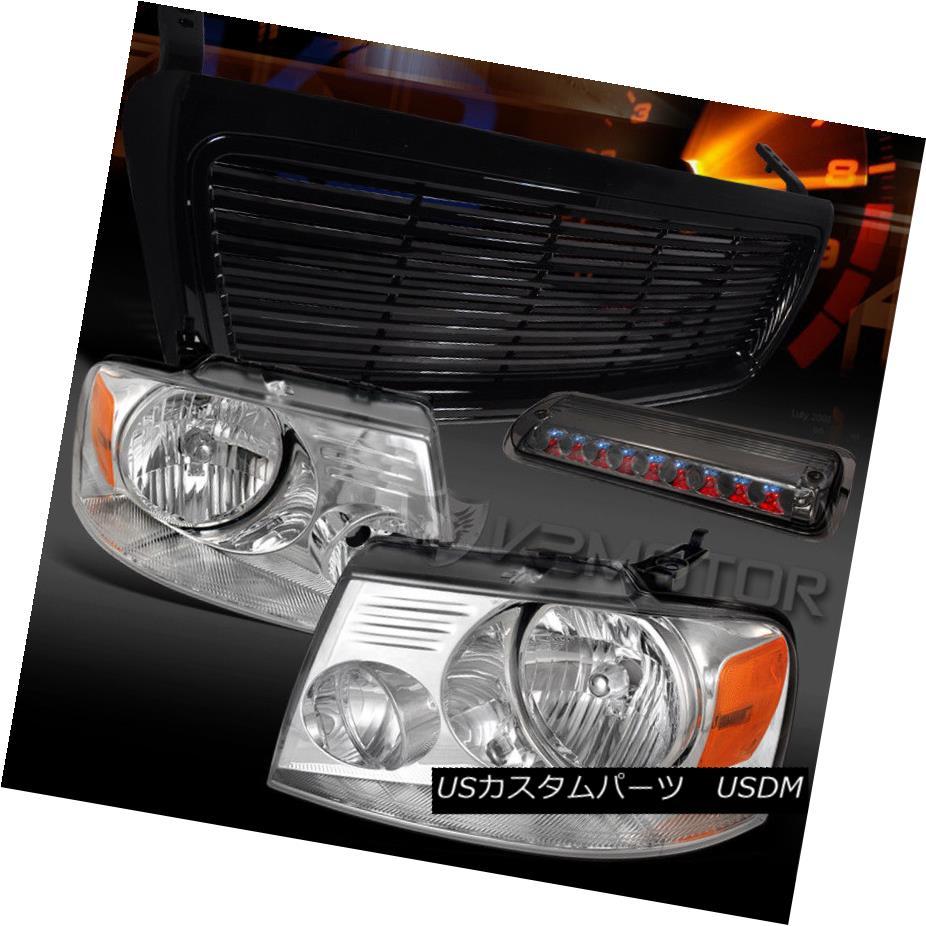 ヘッドライト 04-08 Ford F150 Chrome Headlights+Smoke LED 3rd Brake Lamp+Black Grille 04-08 Ford F150クロームヘッドライト+ Smo  ke LED第3ブレーキランプ+ブラックグリル