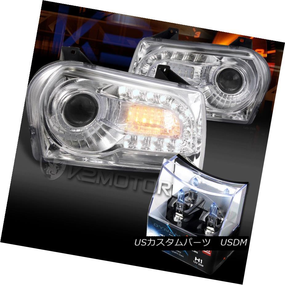 ヘッドライト 05-10 Chrysler 300 Chrome LED DRL Signal Projector Headlights+H1 Halogen Bulbs 05-10クライスラー300クロームLED DRLシグナルプロジェクターヘッドライト+ H1ハロゲン電球