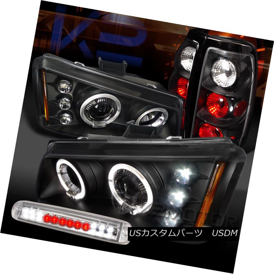ヘッドライト 03-06 Silverado Black Halo Projector Headlights+Tail Lamps+Clear LED 3rd Brake 03-06 Silverado Black Haloプロジェクターヘッドライト+タイ lランプ+クリアLED第3ブレーキ