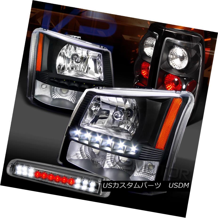ヘッドライト 03-06 Silverado Black SMD DRL Headlight+Tail Lamps+Smoke LED 3rd Stop Lights 03-06 Silverado Black SMD DRLヘッドライト+テールランプ+スモークLED第3ストップライト