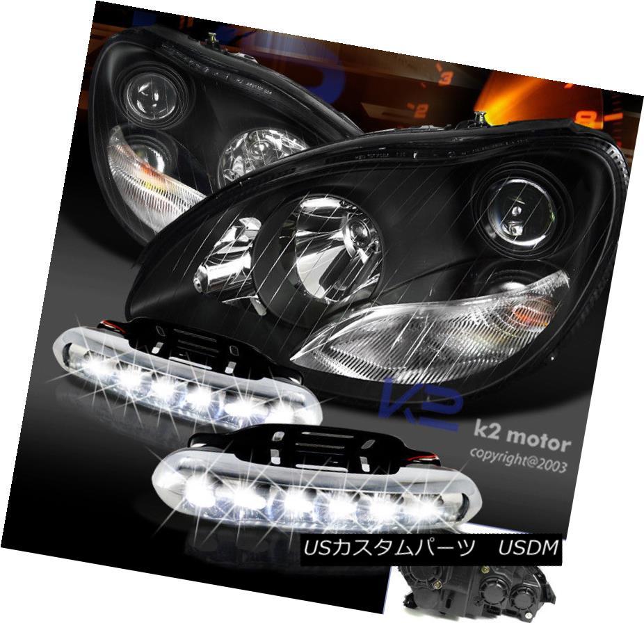 ヘッドライト 00-05 Mercedes Benz W220 Projector Black Headlights+LED DRL Fog Lamps 00-05メルセデスベンツW220プロジェクターブラックヘッドライト+ LED DRLフォグランプ