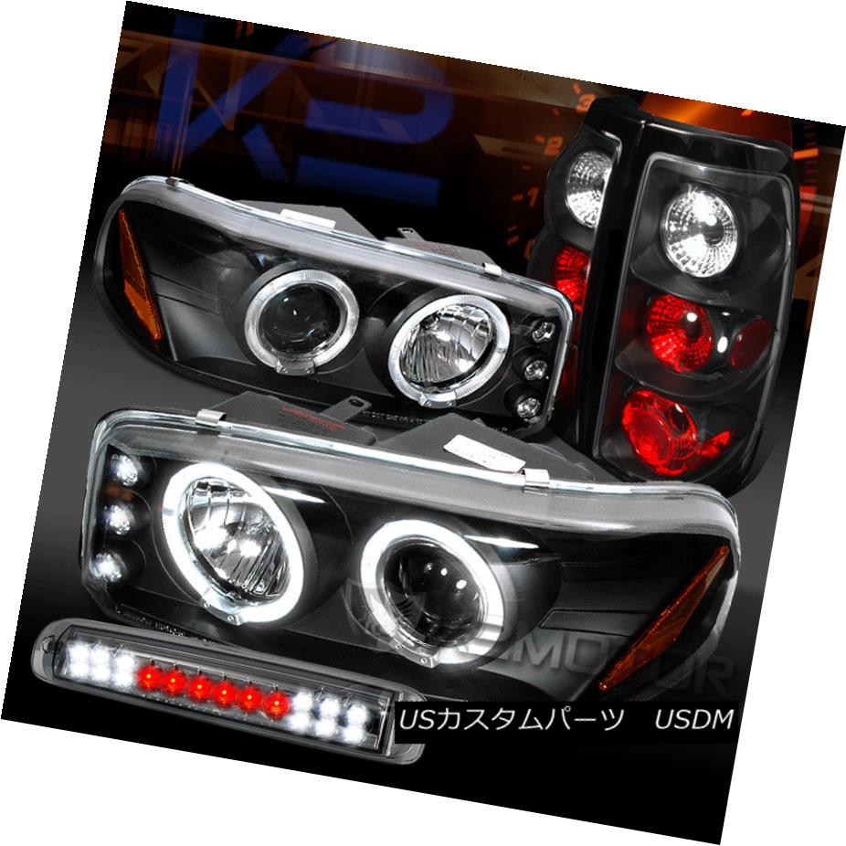 ヘッドライト 99-03 Sierra Black Projector Headlights+Tail Lamps+Smoke LED 3rd Brake 99-03シエラ黒プロジェクターヘッドライト+タイ lランプ+スモークLED第3ブレーキ