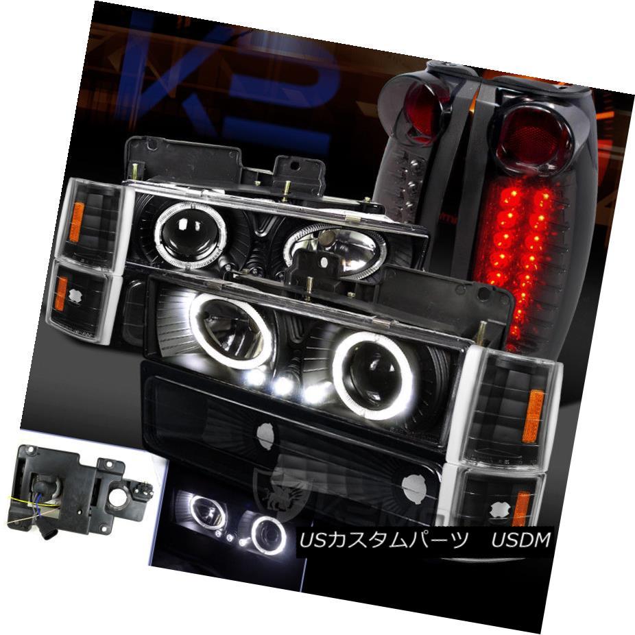 ヘッドライト 94-98 Sierra Yukon Black Halo Projector Headlight+Corner Bumper+LED Tail Lamp 94-98 Sierra Yukonブラックハロープロジェクターヘッドライト+コーン erバンパー+ LEDテールランプ