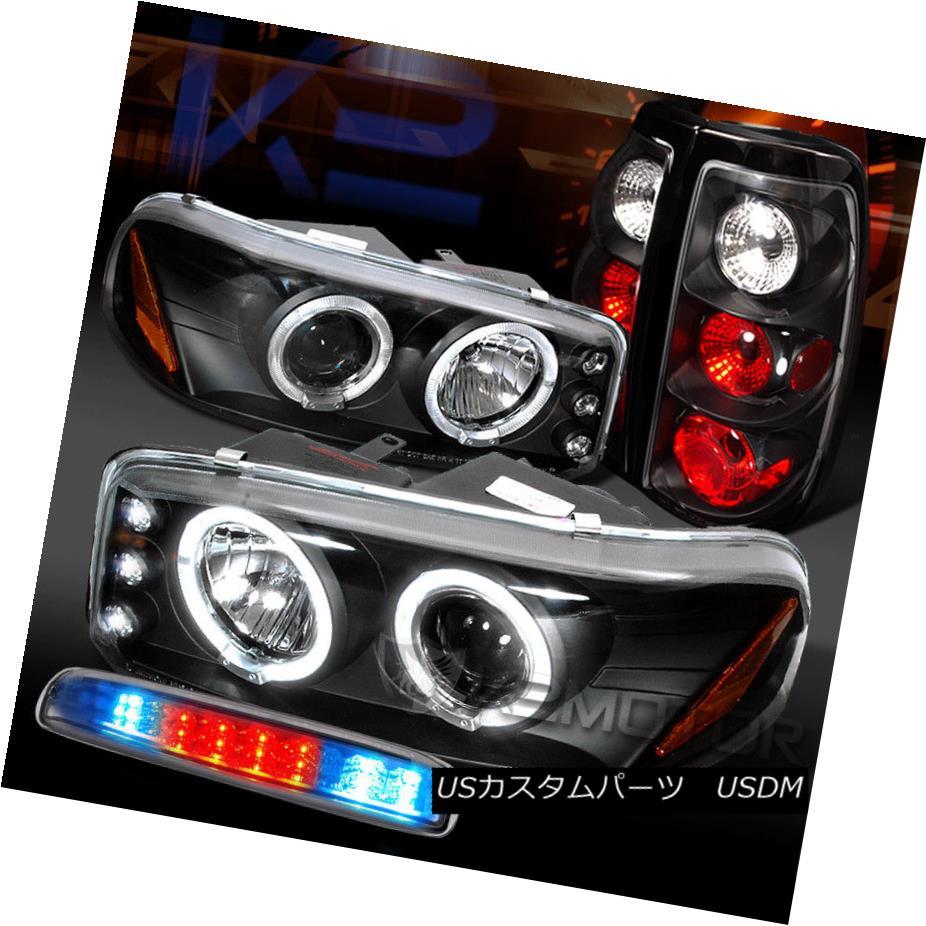ヘッドライト GMC 04-06 Sierra Black Projector Headlights+Tail Lamps+Clear LED 3rd Brake GMC 04-06シエラブラックプロジェクターヘッドライト+タイ lランプ+クリアLED第3ブレーキ