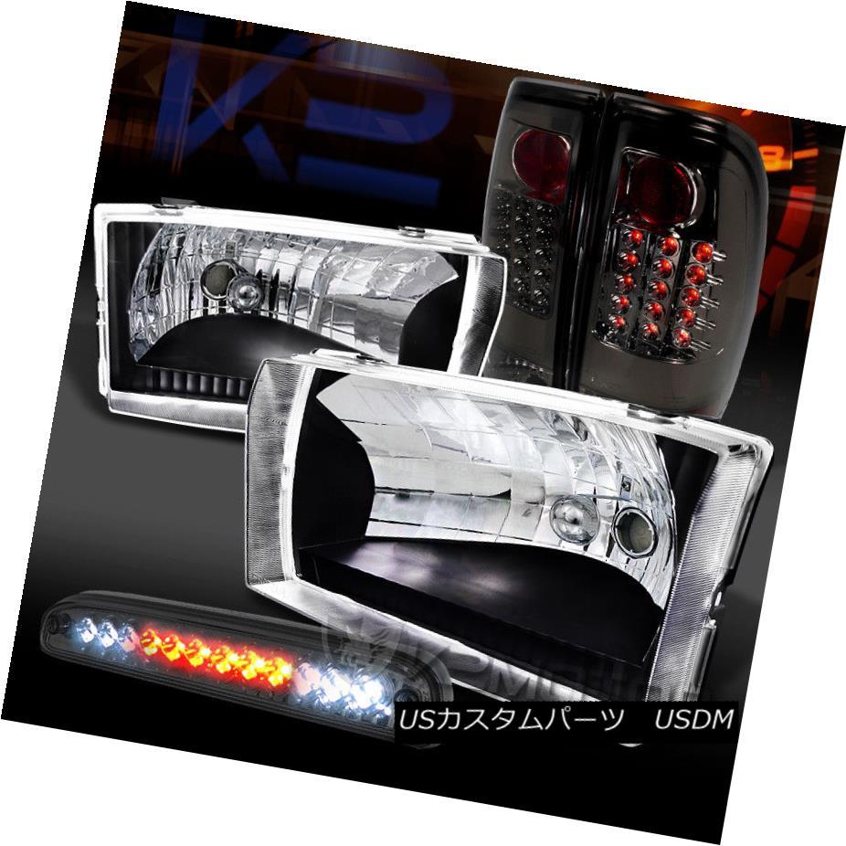 ヘッドライト 99-04 F250/350 SuperDuty Black Headlights+Smoke LED Tail Lamps+LED 3rd Brake 99-04 F250 / 350 SuperDutyブラックヘッドライト+ Smo  ke LEDテールランプ+ LED第3ブレーキ