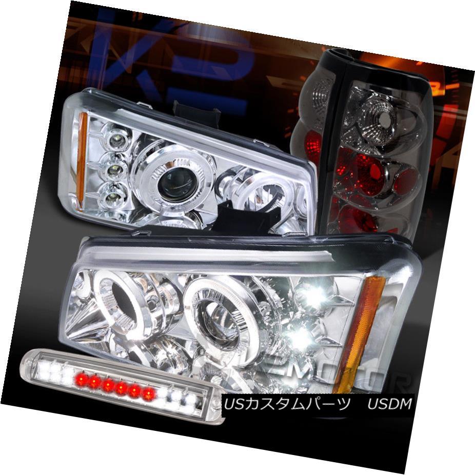 ヘッドライト 03-06 Silverado Clear Halo Projector Headlight+LED 3rd Stop+Smoke Tail Lamps 03-06 Silverado Clear Haloプロジェクターヘッドライト+ LED 3ストップ+スモークテールランプ