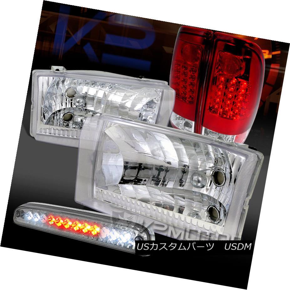 ヘッドライト 99-04 Ford F250/350 Chrome Headlights+Red/Clear LED Tail 3rd Brake Lamps 99-04 Ford F250 / 350クロームヘッドライト+レッド /クリアLEDテール第3ブレーキランプ
