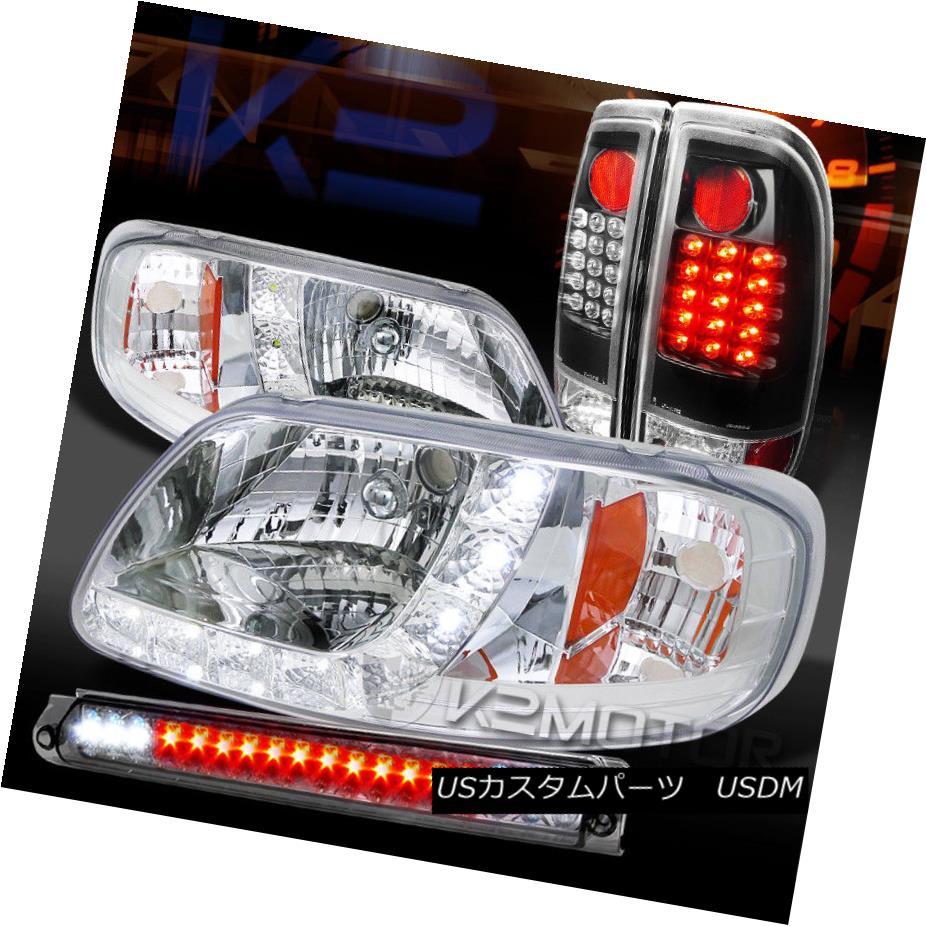 ヘッドライト 97-03 F150 Chrome SMD DRL Headlights+Smoke 3rd Brake+Black LED Tail Lamps 97-03 F150クロームSMD DRLヘッドライト+スモーキー ke第3ブレーキ+ブラックLEDテールランプ