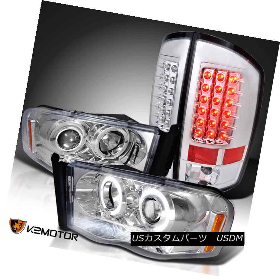 ヘッドライト 02-05 Dodge Ram Projector Headlights Turn Signal Lamps+LED Rear Tail Brake Lamps 02-05 Dodge Ramプロジェクターヘッドライトターンシグナルランプ+ LEDリアテールブレーキランプ