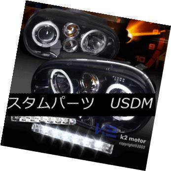 ヘッドライト For 99-06 Golf MK4 GTI Glossy Black Halo Projector Headlights+LED DRL Fog Lamps 99-06ゴルフ用MK4 GTI光沢ブラックハロープロジェクターヘッドライト+ LED DRLフォグランプ