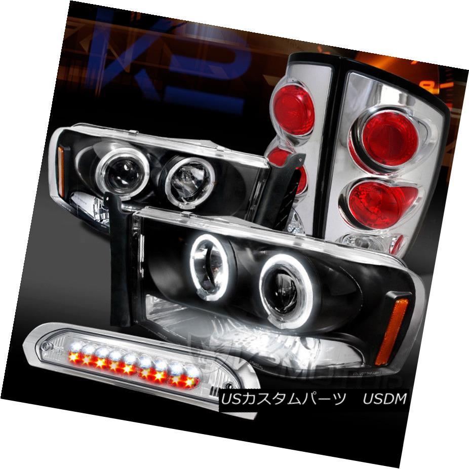 ヘッドライト 02-05 Ram Black Halo Projector Headlights+Chrome Tail Lamps+LED 3rd Brake Light 02-05 Ram Black Haloプロジェクターヘッドライト+ Chr  omeテールランプ+ LED第3ブレーキライト