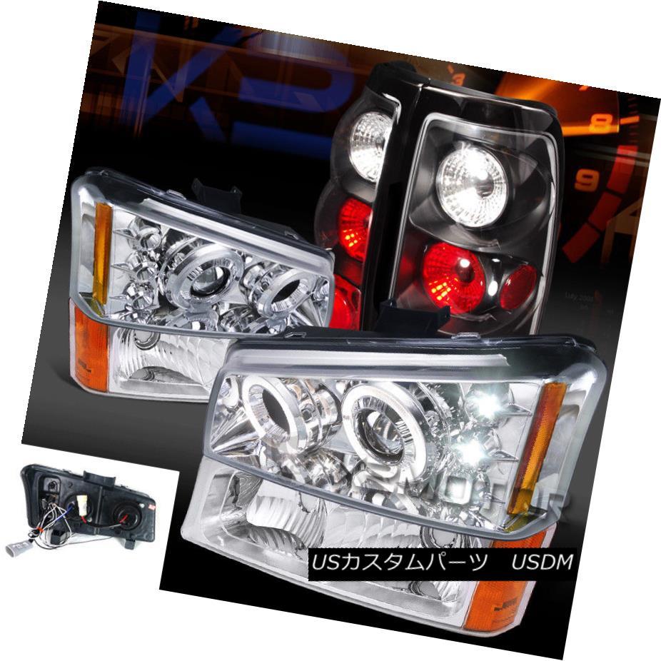 ヘッドライト 03-06 Silverado Chrome Halo LED Projector Headlights Bumper Lamp+Black Tail Lamp 03-06 Silverado Chrome Halo LEDプロジェクターヘッドライトバンパーランプ+ブラックテールランプ